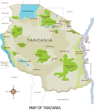 Flag of Tanzania with National Parks